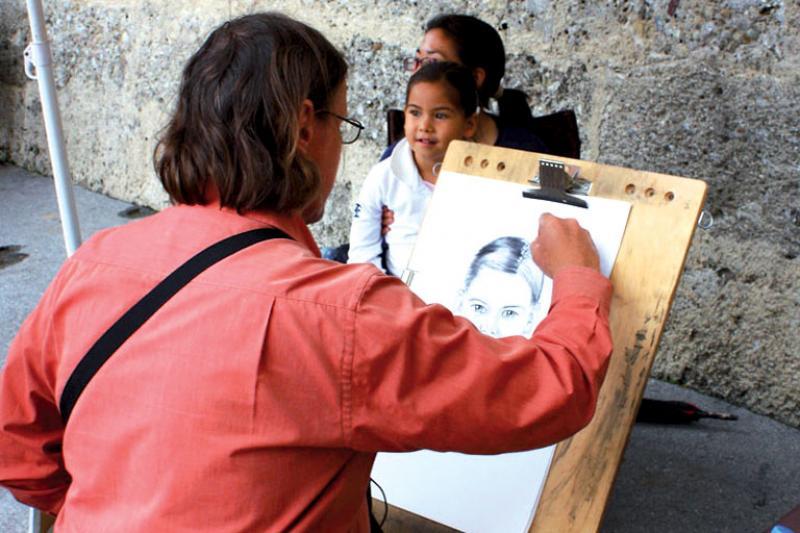 Artisti di strada nel centro storico di Amelia