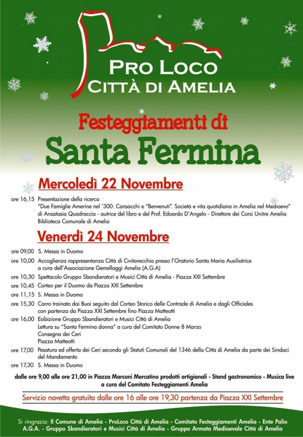 Festeggiamenti di Santa Fermina - 24 Novembre 2017