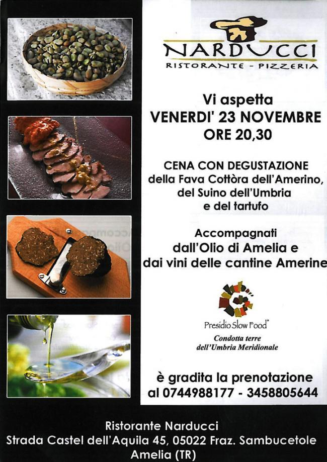 Ristorante Narducci: cena con degustazione della fava cottora e del tartufo