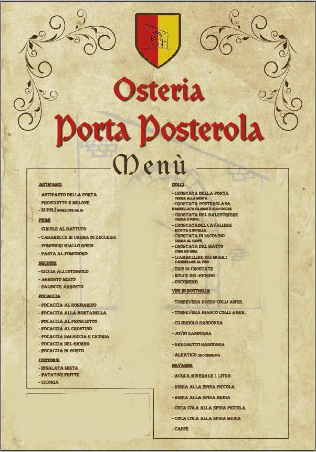 Menu della taverna Posterola